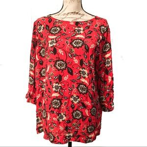 J Jill Viscose Rayon Floral 3/4 Sleeve Top Blouse